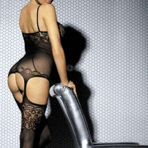 Black Intimate Lace Detail Bodystocking OS